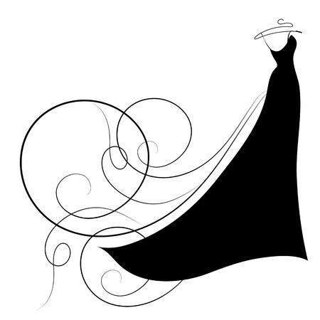 conception de robe de mariée, noir et blanc
