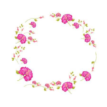 beautiful pink flowers , on a white Ilustração