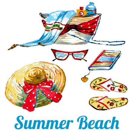 beach set, bag,hat,glasses,on a white. Illustration