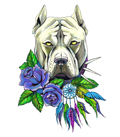Pit bull, dog with roses, isolated on a white, hand drawing Stock Photo