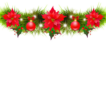 Christmas garland with poinsettia and red ribbons ,isolated on a white Vectores