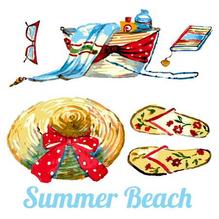 beach set, bag,hat,glasses,on a white, watercolor set