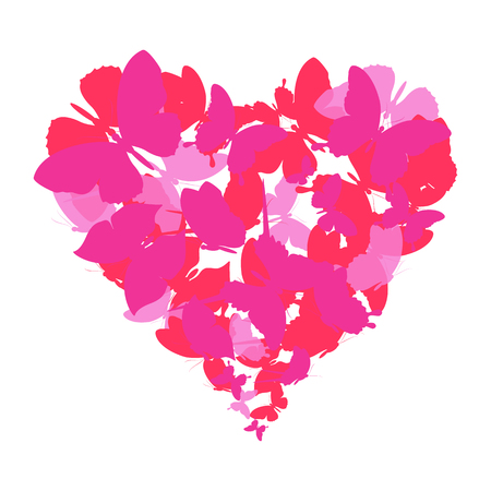 red heart, butterflies, valentine card Vetores