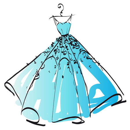 wedding dress design, black and white,blue