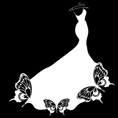 wedding dress design, black and white