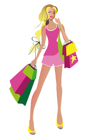beautiful woman, shopping, on a white Standard-Bild - 115503794