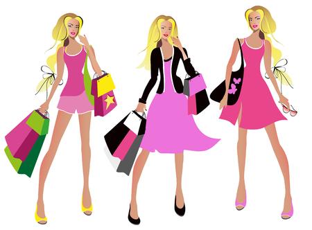 beautiful woman, shopping, on a white Standard-Bild - 123665406