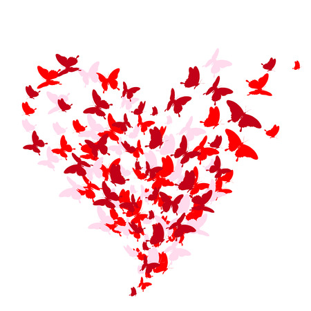 red heart, butterflies, valentine card Ilustração