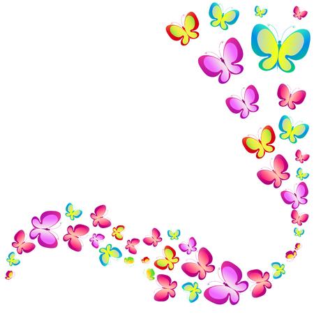 papillons de belle couleur, ensemble, isolés sur un blanc Vecteurs
