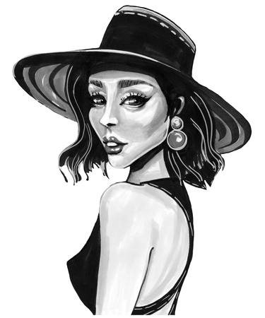 beautiful woman hat, fashion illustration, on a white