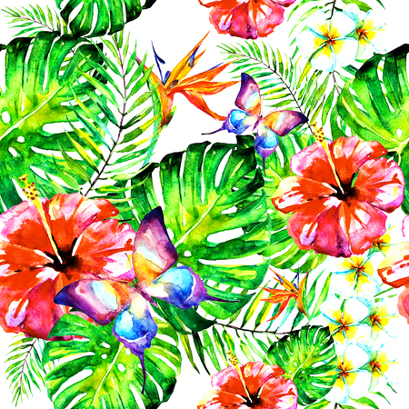 beautiful red flowers ,palm leaves, watercolor on a white Reklamní fotografie
