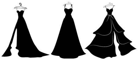 Projekt sukni ślubnej, czarno-biały Ilustracje wektorowe