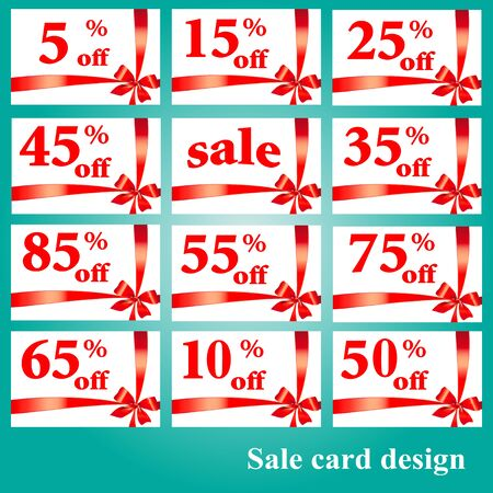 Sale cards procents red bow on a white