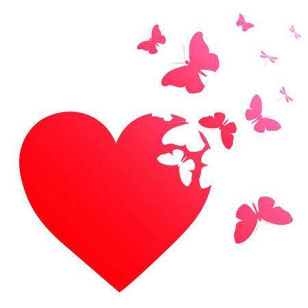 Red heart, butterflies, valentine card