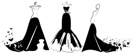 Wedding dress design on white Stock Illustratie