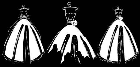Wedding dress design on black Stock Illustratie