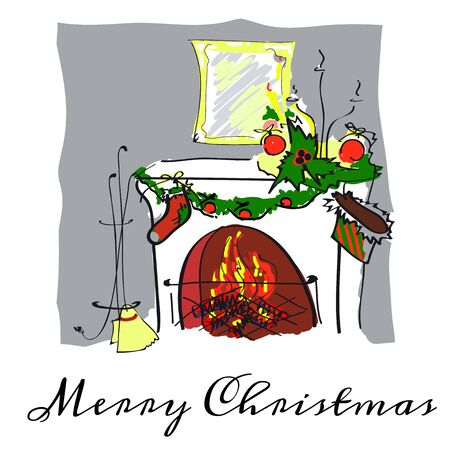 Christmas eve,fireplace, hand drawn