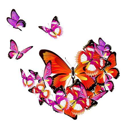 pink heart, butterflies,,valentine card