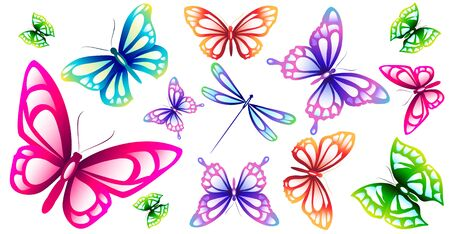 beautiful pink butterflies, isolated  on a white Ilustrace