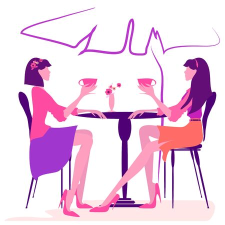 Two woman having cup of tea