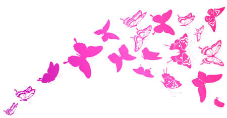beautiful pink butterflies, isolated on a white Ilustracja