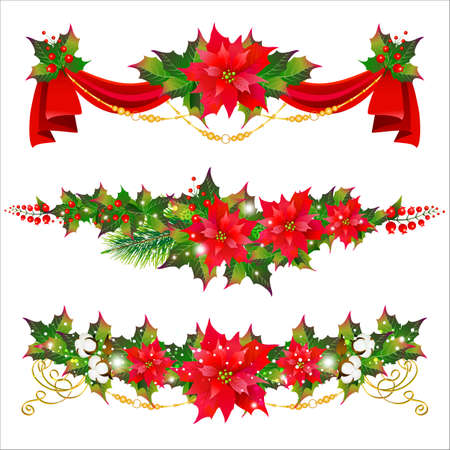 Christmas set with poinsettia isolated on a white Imagens