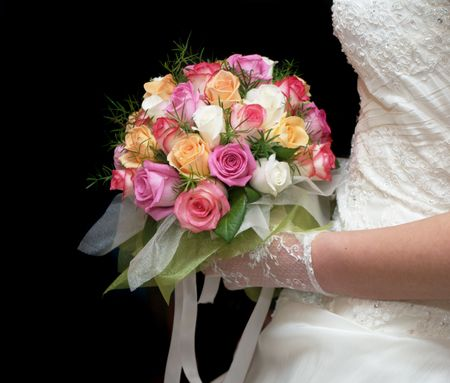 a marriage meeting: bouquet in the hands of the bride