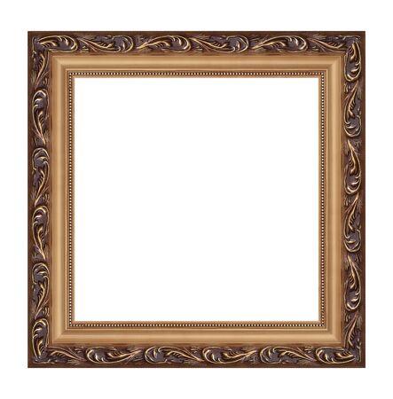 objetos cuadrados: antiguo marco sobre un fondo blanco