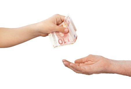 money and hands on a white background photo