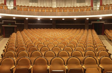 auditorium:  Photograph of the Rows of theatre seats Stock Photo
