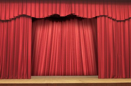 curtain theatre: Red Stage Theater Drapes With Deep Shadows  Stock Photo