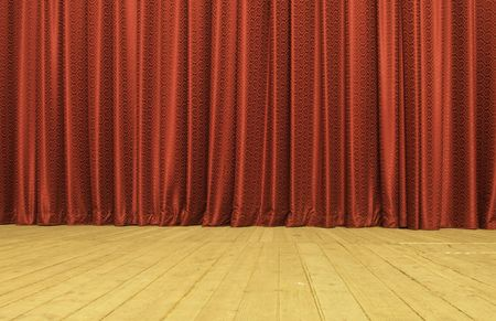 stage set:  Red Satin Drapes On Stage