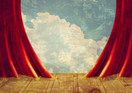 lyrics: Small stage with red velvet theater curtains  Stock Photo