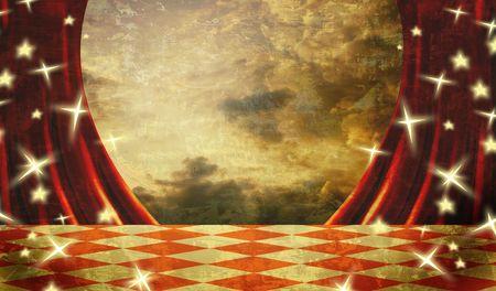 letras musicales: Peque�o escenario con cortinas de terciopelo rojo teatro  Foto de archivo