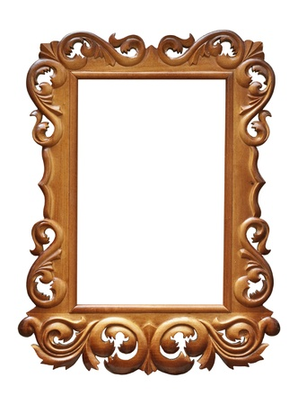 Wooden Baroque frame isolated on white  Stock Photo