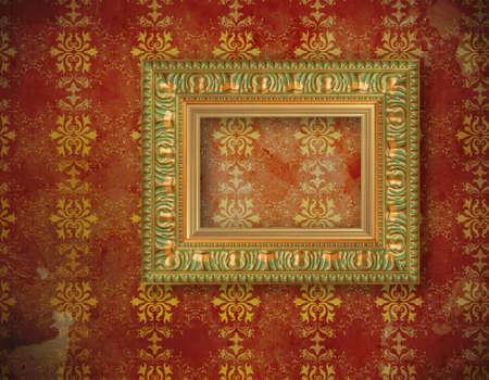 carved gilded frame over old wallpaper   photo