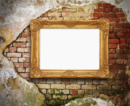 old brick wall with golden frame  photo