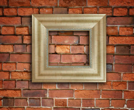 blank photo frame on old brick wall  Stock Photo - 8318620