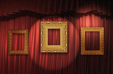 Red curtain with vintage gold frames photo