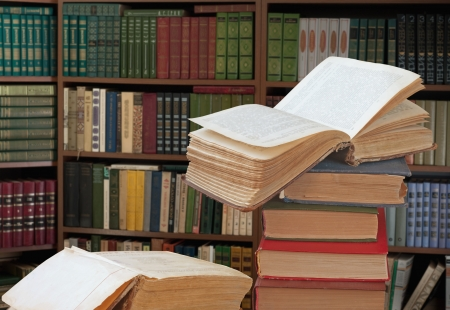 open books in a library Stock Photo - 8318556