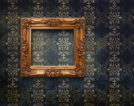 Retro frame over grunge wallpaper  Stock Photo - 8318625