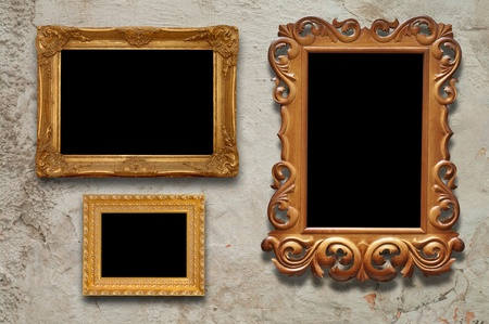 old frames on the wall in the interior grunge  photo