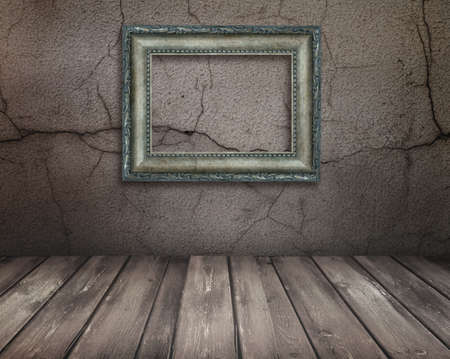 Vintage Old room, grunge industrial interior, and frames Stock Photo - 8543253