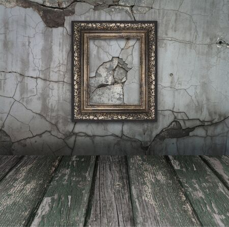 Vintage Old room, grunge industrial interior, and frames  Stock Photo - 8543251