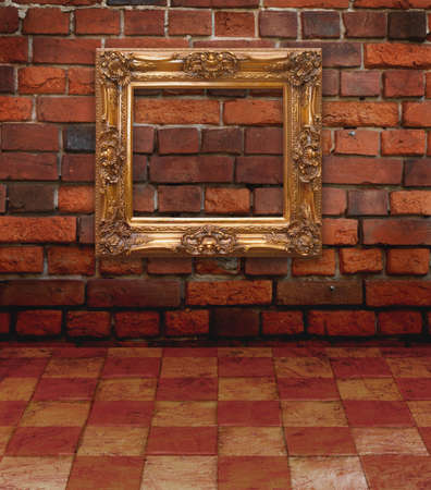 Vintage Old room, grunge industrial interior, and frames Stock Photo - 8543224