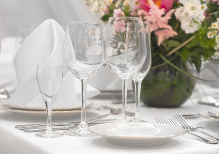 dining table and chairs: Fancy table set for a dinner  Stock Photo