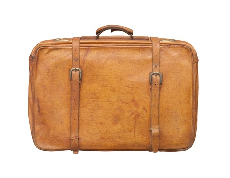 Isolated old and weathered leather suitcase standing  Standard-Bild