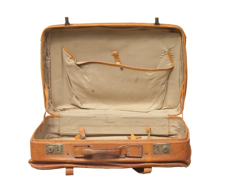 old leather: Retro Suitcase opened isolated over white