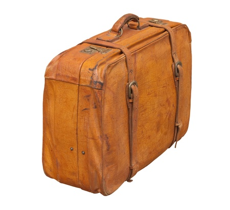 Isolated old and weathered leather suitcase standing Stock Photo - 10600101