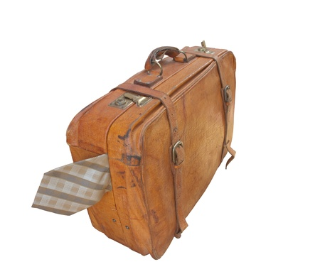 tight filled: Vintage suitcase with tie isolated on white background